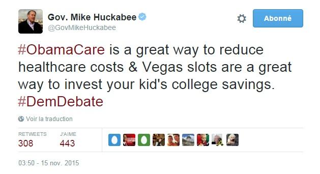 Traduction: Obamacare est un super moyen de réduire les coûts des soins de santé & les machines à sous de Vegas sont un super moyen d'investir dans l'épargne pour l'éducation de vos enfants.