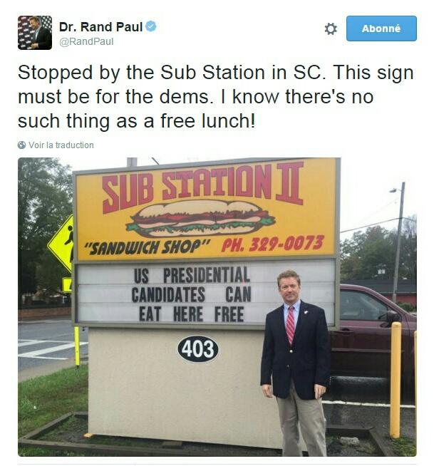 Traduction: Je me suis arrêté au Sub Station en Caroline du Sud. Ce panneau doit être pour les Démocrates. Je sais que rien n'est gratuit!