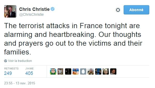 Traduction: Les attaques terroristes en France ce soir sont inquiétantes et fendent le cœur. Nos pensées et prières vont aux victimes et à leurs familles.
