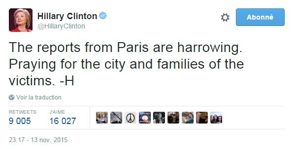 Traduction: Les annonces venant de Paris sont atroces. Je prie pour la ville et les familles des victimes.