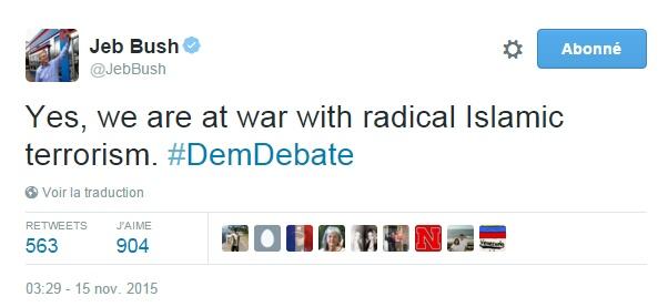 Traduction: Oui, nous sommes en guerre contre le terrorisme islamique radical.