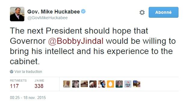 Traduction: Le prochain Président devrait espérer que le gouveneur Bobby Jindal soit disposé à apporter son intelligence et son expérience au sein de son cabinet.
