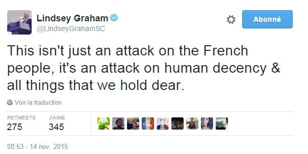 Traduction: Ce n'est pas seulement une attaque contre le peuple français, c'est une attaque contre la décence humaine & toutes les choses qui nous tiennent à cœur.