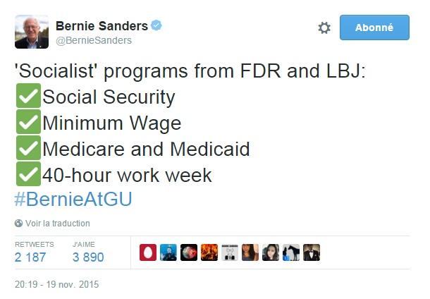 """Traduction: Programmes """"socialistes"""" de FDR et LBJ : Sécurité sociale Salaire minimum Medicare et Medicaid Semaine de travail de 40 heures"""