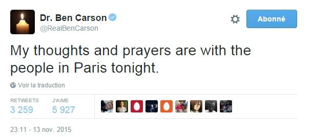 Traduction: Mes pensées et prières sont avec les gens à Paris ce soir.