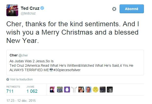 Traduction: Cher, merci pour les gentils sentiments. Et je vous souhaite un Joyeux Noël et une bonne année.