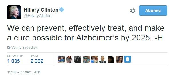 Traduction: Nous pouvons prévenir, traiter efficacement, et rendre un remède possible pour Alzheimer d'ici 2025.