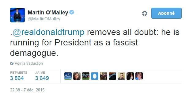Traduction: Donald Trump lève le doute : il est candidat à la présidence en tant que démagogue fasciste.