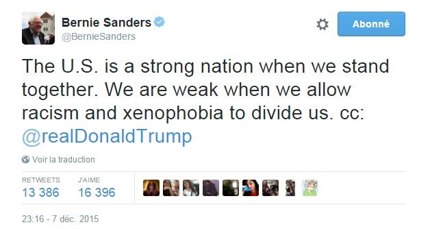 Traduction: Les Etats-Unis sont une nation forte quand nous nous serrons les coudes. Nous sommes faibles quand nous permettons au racisme et à la xénophobie de nous diviser. cc: Donald Trump