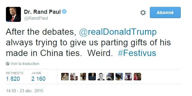 Traduction: Après les débats, Donald Trump est toujours en train d'essayer de nous donner ses cravates made in China en cadeau d'adieu. Etrange.