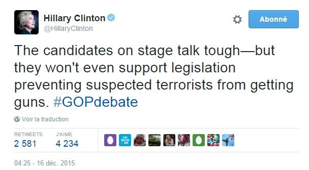 Traduction: Les candidats sur la scène parlent d'être dur - mais ils ne supporteront même pas une législation empêchant les terroristes soupçonnés de se procurer des armes.