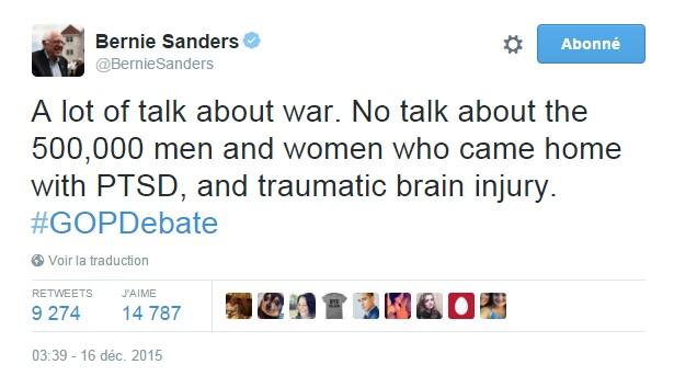 Traduction: Beaucoup de discussions à propos de la guerre. Aucune discussion à propos des 500,000 hommes et femmes qui sont rentrés à la maison avec un syndrome de stress post-traumatique, et un traumatisme crânien.