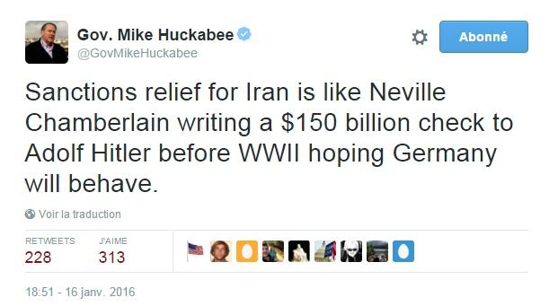 Traduction: La levée des sanctions contre l'Iran est comme Neville Chamberlain signant un chèque de 150 milliards de $ à Adolf Hitler avant la Seconde Guerre Mondiale en espérant que l'Allemagne se conduise bien.