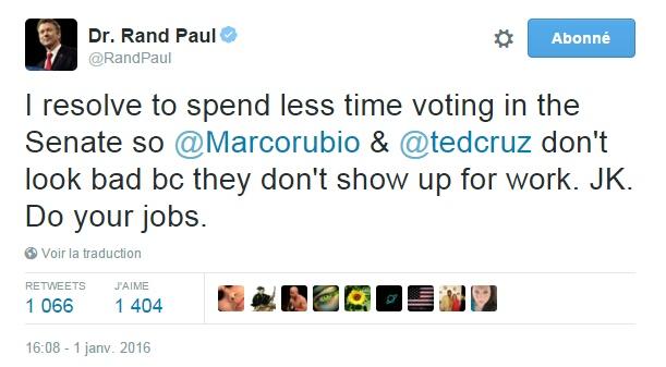 Traduction: Je décide de passer moins de temps à voter au Sénat pour que Marco Rubio et Ted Cruz ne fassent pas mauvaise figure parce qu'ils ne se montrent pas au travail. Je plaisante. Faites votre boulot.