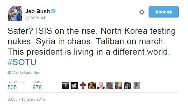 Traduction: Plus en sécurité? L'Etat Islamique en progression. La Corée du Nord qui teste des armes nucléaires. La Syrie dans le chaos. Les Talibans en marche. Ce président vit dans un autre monde.