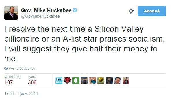 Traduction: Je décide que la prochaine fois qu'un milliardaire de la Silicon Valley ou qu'une grande star de cinéma fera l'éloge du socialisme, je suggérerai qu'ils me donnent la moitié de leur fortune.