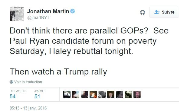 Traduction: Vous ne pensez pas qu'il y a deux Partis Républicains parallèles ? Voyez Paul Ryan au forum sur la pauvreté samedi, la réponse d'Haley ce soir. Puis regardez un meeting de Trump.