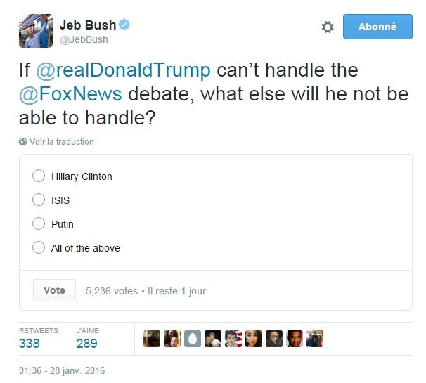Traduction: Si Donald Trump ne peut pas faire face au débat de Fox News, à quoi d'autre ne sera-t-il pas capable de faire face? Hillary Clinton / L'Etat Islamique / Poutine / Tout ce qui précède