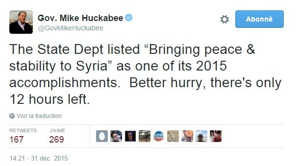 """Traduction: Le Département d'Etat a listé """"Apport de la paix & de la stabilité en Syrie"""" comme l'un de ses accomplissements de 2015. Il faut se dépêcher, il ne reste plus que 12 heures."""