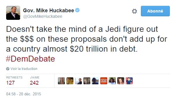 Traduction: Pas besoin d'avoir l'esprit d'un Jedi pour comprendre que les $$$ de ces propositions n'ont pas de sens pour un pays qui a déjà une de dette de presque 20 mille milliards de dollars.