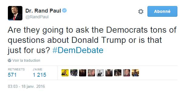Traduction: Vont-ils poser des tonnes de questions sur Donald Trump aux Démocrates ou bien est-ce juste pour nous?