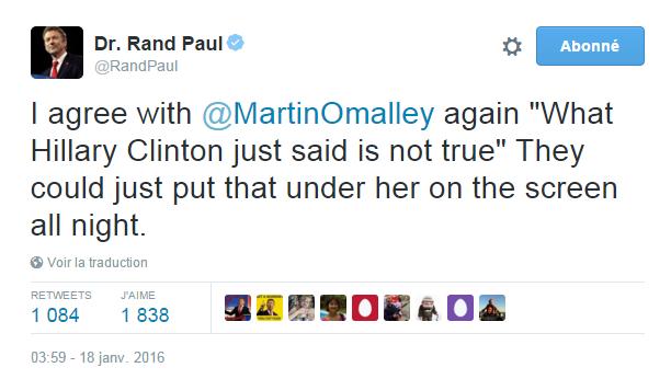 """Traduction: Je suis à nouveau d'accord avec Martin O'Malley """"Ce qu'Hillary Clinton vient de dire n'est pas vrai"""" Ils pourraient mettre cela en-dessous d'elle sur l'écran toute la soirée."""