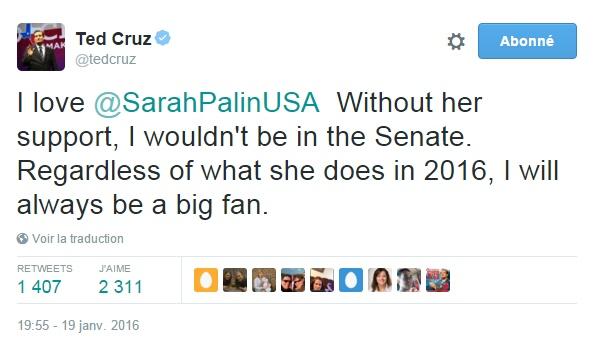 Traduction: J'aime Sarah Palin. Sans son soutien, je ne serais pas au Sénat. Peu importe ce qu'elle fait en 2016, je serai toujours un grand fan.