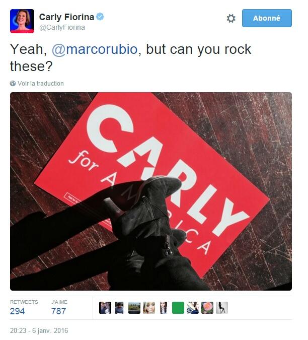 Traduction: Yeah, Marco Rubio, mais peux-tu porter celles-ci ?