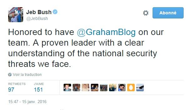 Traduction: Honoré d'avoir Lindsey Graham dans notre équipe. Un leader avec une compréhension claire des menaces à la sécurité nationale auxquelles nous faisons face