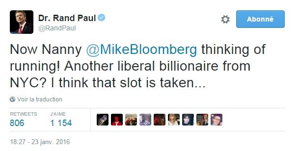 Traduction: Maintenant Mamie Mike Bloomberg pense à se présenter! Un autre milliardaire libéral de New York? Je pense que cette place est prise...