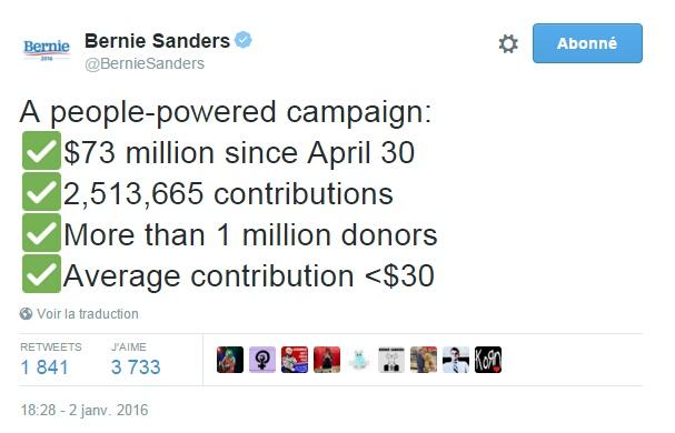 Traduction: Une campagne qui fonctionne grâce aux citoyens : 73 millions $ depuis le 30 avril 2,513,665 contributions Plus d'un million de donateurs Contribution moyenne <30$