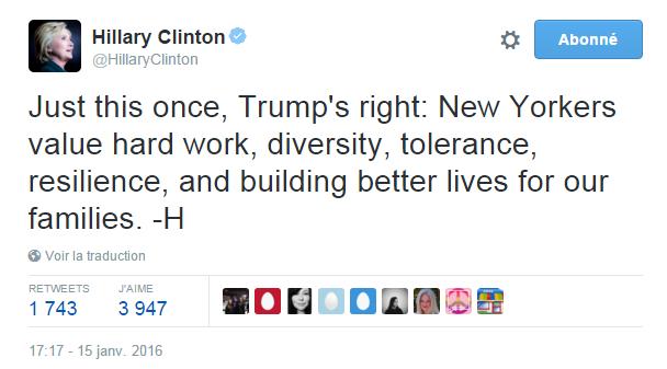 Traduction: Juste pour cette fois, Trump a raison: les new-yorkais accordent de l'importance au travail, à la diversité, à la tolérance, à la ténacité, et à construire des vies meilleures pour leurs familles.