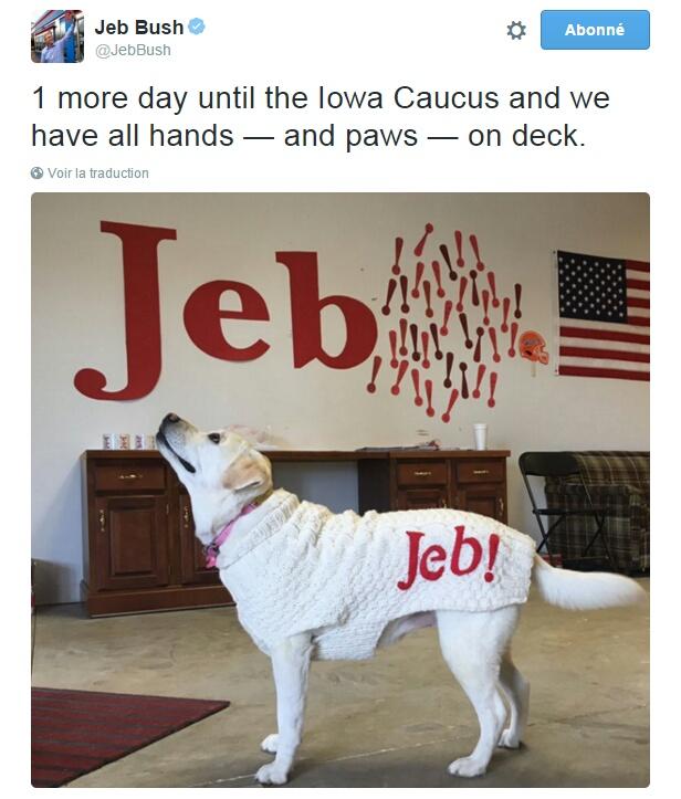 Traduction: Plus qu'un seul jour avant le caucus de l'Iowa et toutes les mains - et les pattes - sont sur le pont.