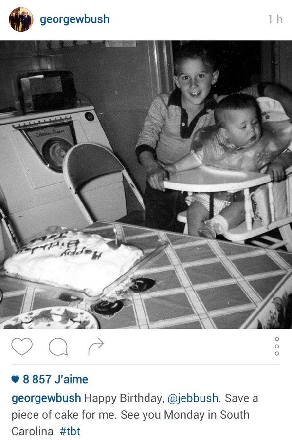 Traduction: Joyeux anniversaire, Jeb. Garde une part de gâteau pour moi. À lundi en Caroline du Sud.