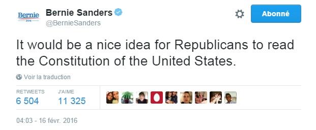 Traduction: Ce serait une bonne idée pour les Républicains de lire la Constitution des Etats-Unis.