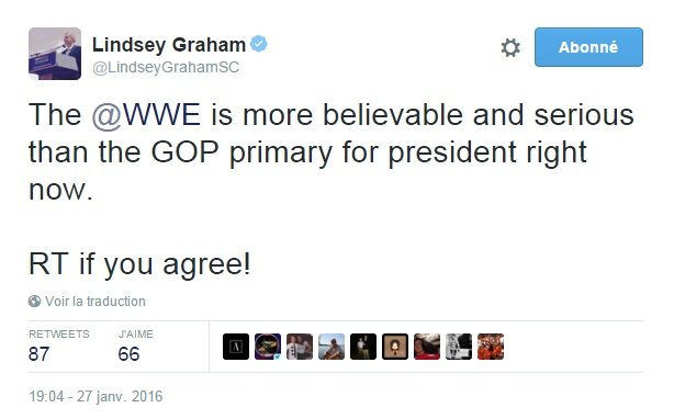 Traduction: La WWE est plus crédible et sérieuse que la primaire républicaine pour la présidence en ce moment.