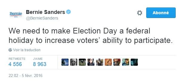 Traduction: Nous devons faire du jour de l'élection un jour férié pour augmenter la possibilité des électeurs de participer.