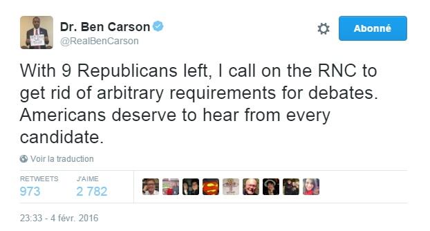 Traduction: Avec 9 Républicains restants, j'appelle le Parti Républicain à se débarrasser des exigences arbitraires pour les débats. Les américains méritent d'entendre chaque candidat.