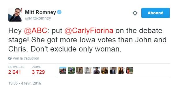 Traduction: Hey ABC: incluez Carly Fiorina sur la scène du débat! Elle a obtenu plus de votes en Iowa que John et Chris. N'excluez pas la seule femme.