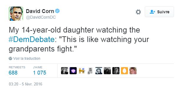"""Traduction: Ma fille de 14 ans en train de regarder le débat démocrate: """"C'est comme regarder ses grands-parents se disputer"""""""