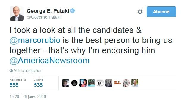 Traduction: J'ai examiné tous les candidats & Marco Rubio est la meilleure personne pour nous rassembler - c'est pourquoi je lui apporte mon soutien.