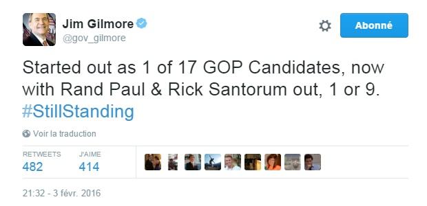 Traduction: J'ai débuté comme 1 candidat républicain sur 17, maintenant que Rand Paul & Rick Santorum sont dehors, 1 sur 9.