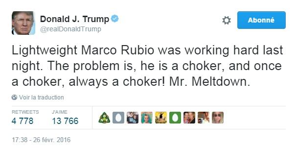 Traduction: Le poids léger Marco Rubio travaillait dur la nuit dernière. Le problème est, il est un raté, et raté une fois, raté pour toujours ! Mr. Effondrement.