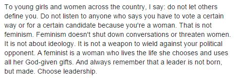 Extrait du communiqué de Carly Fiorina, Facebook