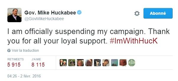 Traduction: Je suspends officiellement ma campagne. Merci pour votre soutien loyal.