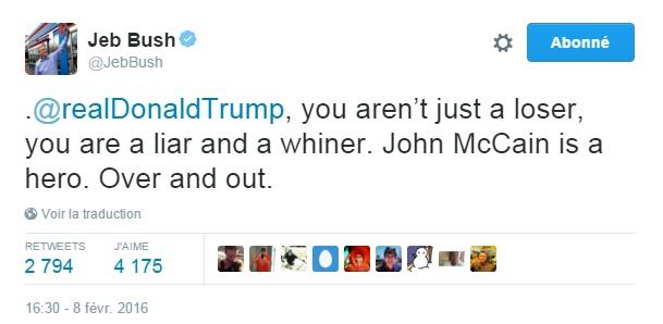 Traduction: Donald Trump, tu n'es pas seulement un loser, tu es un menteur et un pleurnichard. John McCain est un héros. Terminé.
