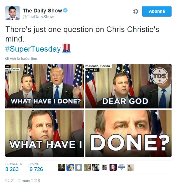 Traduction: Il n'y a qu'une seule question dans la tête de Chris Christie. Qu'est-ce que j'ai fait? Mon Dieu, qu'est-ce que j'ai fait?