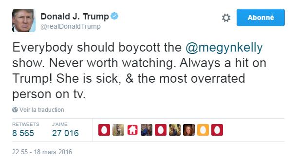 Traduction: Tout le monde devrait boycotter l'émission de Megyn Kelly. Cela ne vaut jamais la peine de regarder. Toujours à taper sur Trump! Elle est malade & la personne la plus surestimée à la tv.