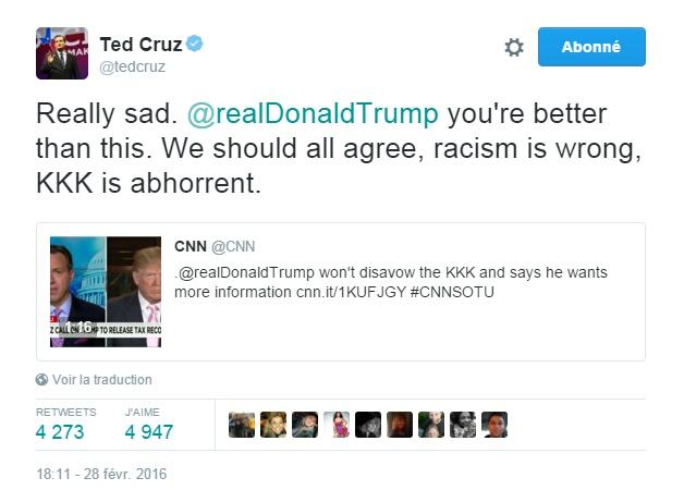 Traduction: Vraiment triste. Donald Trump, tu vaux mieux que cela. Nous devrions tous être d'accord, le racisme est quelque chose de mal, le KKK est abject.