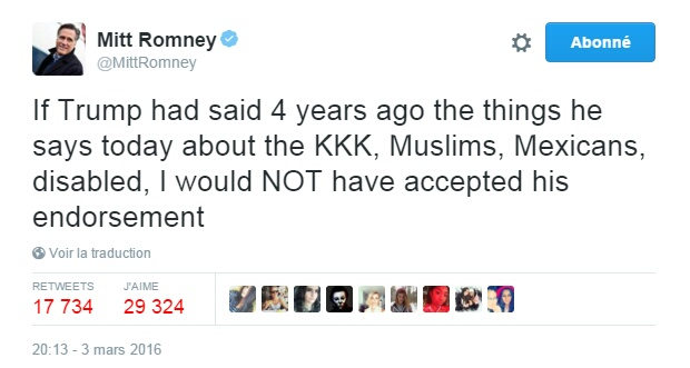 Traduction: Si Trump avait dit il y a 4 ans les choses qu'il dit aujourd'hui à propos du KKK, des musulmans, des mexicains, des handicapés, je n'aurais PAS accepté son soutien